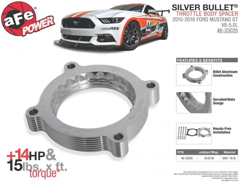 AFE POWER: Silver Bullet Throttle Body Spacer 2015-2016 Ford Mustang GT V8-5.0L