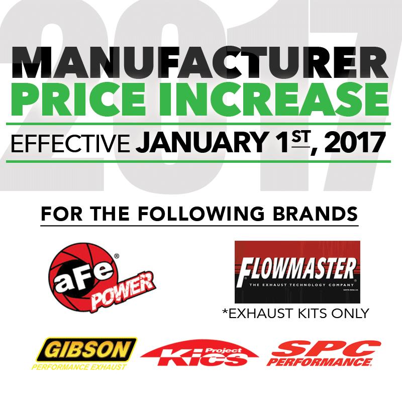 MFG Price Increase: Effective January 1, 2017