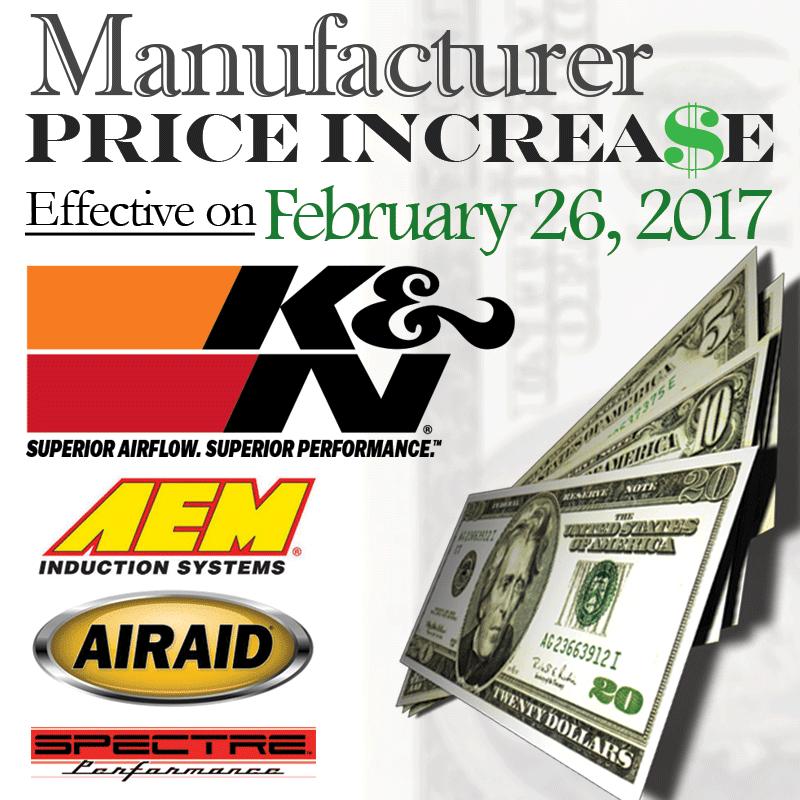 MFG Price Increase: Effective February 26, 2017