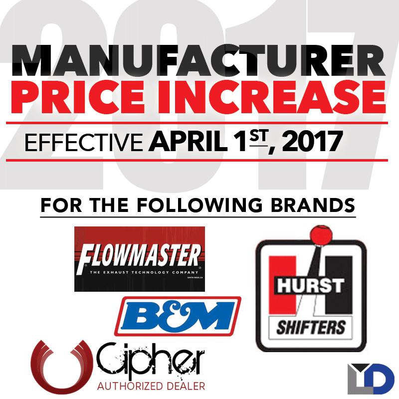 MFG Price Increase: Effective April 1st, 2017