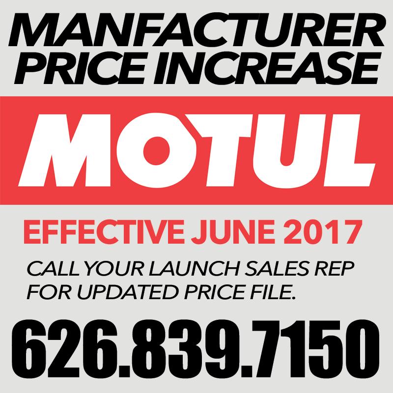 MOTUL: Price INCREASE Effective JUNE 2017