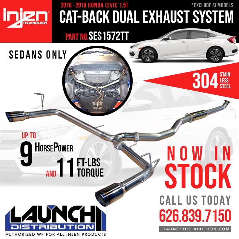 INJEN: Cat-Back Dual Exhaust for 16-18 Honda Civic 1.5T Sedan