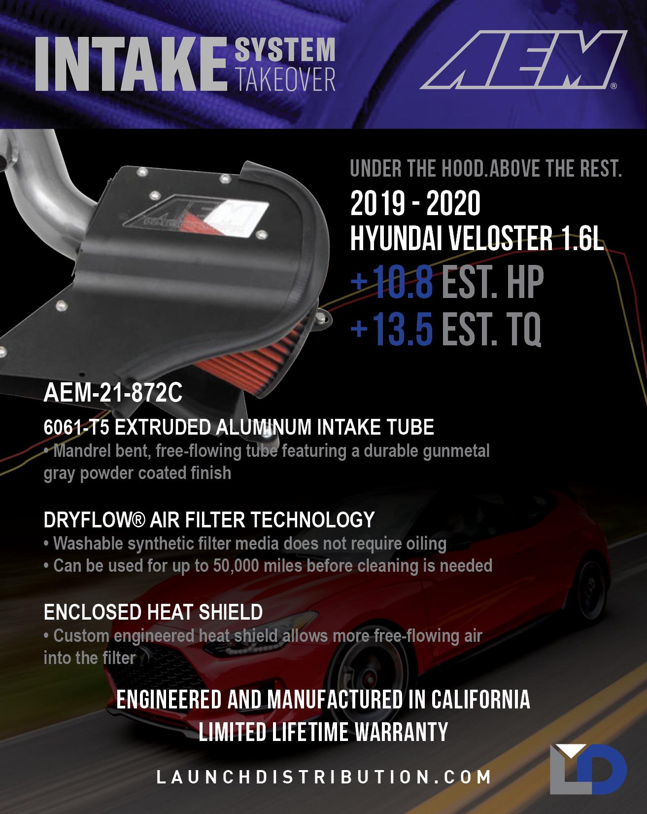 IN STOCK NOW – AEM Intake Kit for 2019-2020 Hyundai Veloster 1.6L